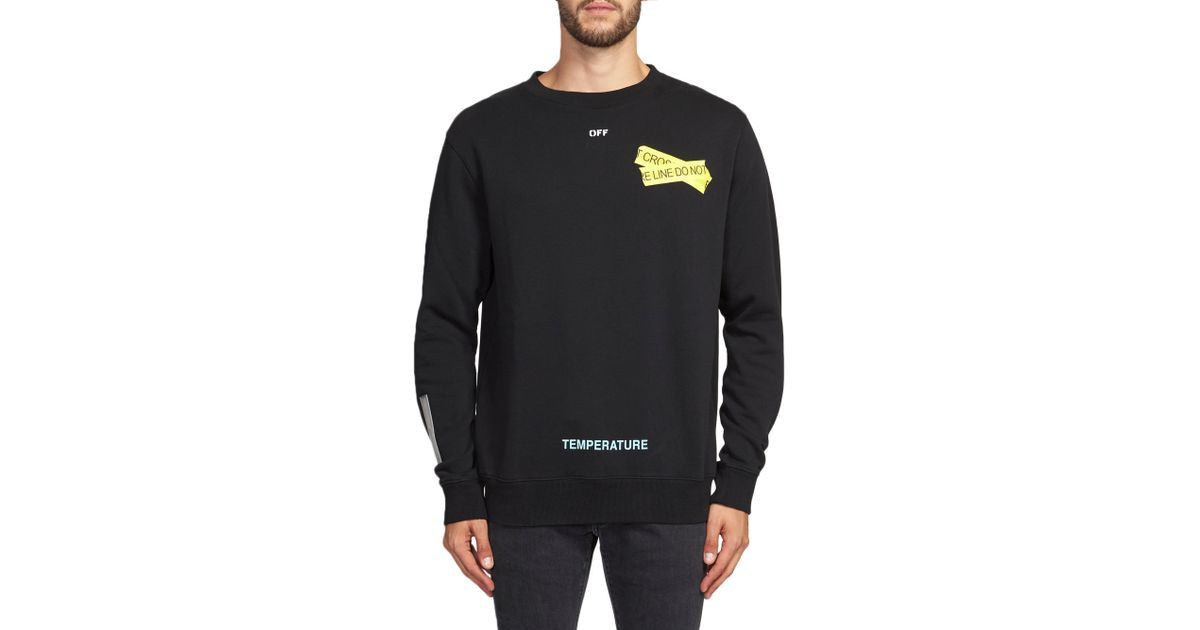 f34f1d3b854 Off-White c o Virgil Abloh Fire Tape Graphic Pullover in Black for Men -  Lyst