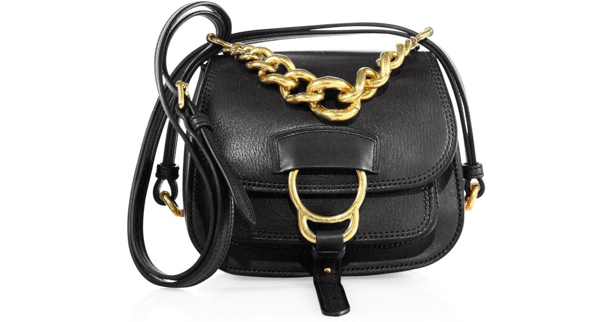 67a58a2c2b23 Lyst - Miu Miu Dahlia Small Leather Saddle Bag in Black