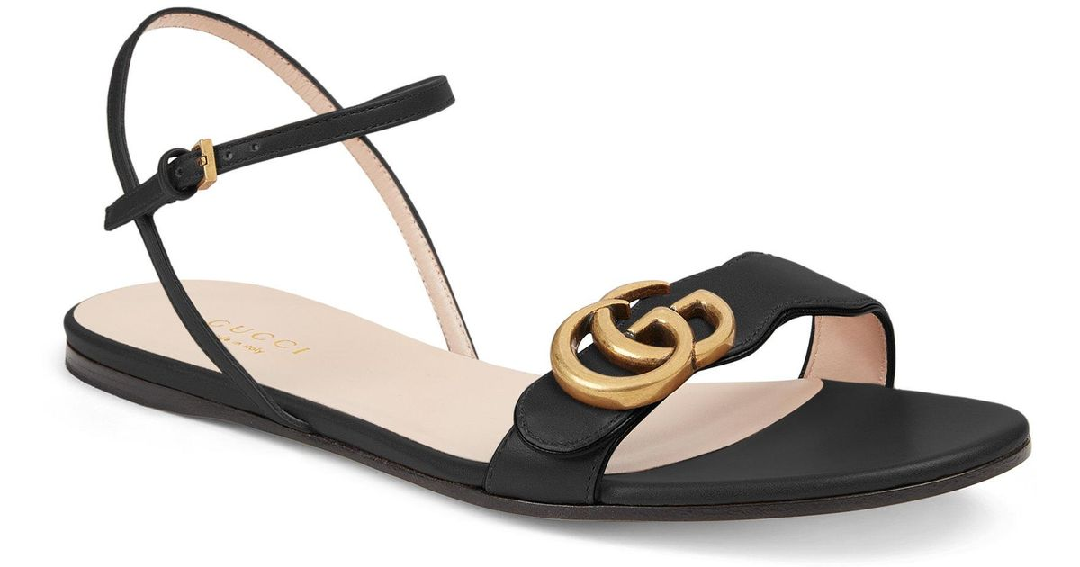 aiaFg6yXHY Marmont Double G Flat Leather Sandals tH98NknI3M