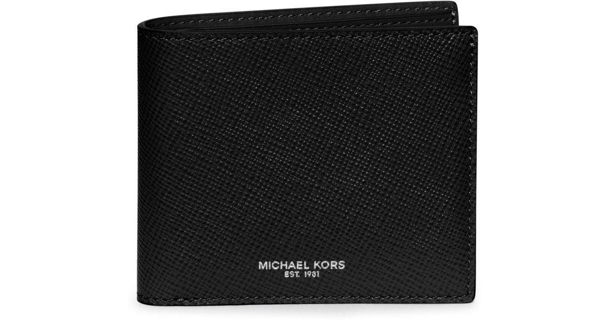 7c08d887d4e08 Lyst - Michael Kors Men s Leather Billfold Wallet - Mocha in Black for Men