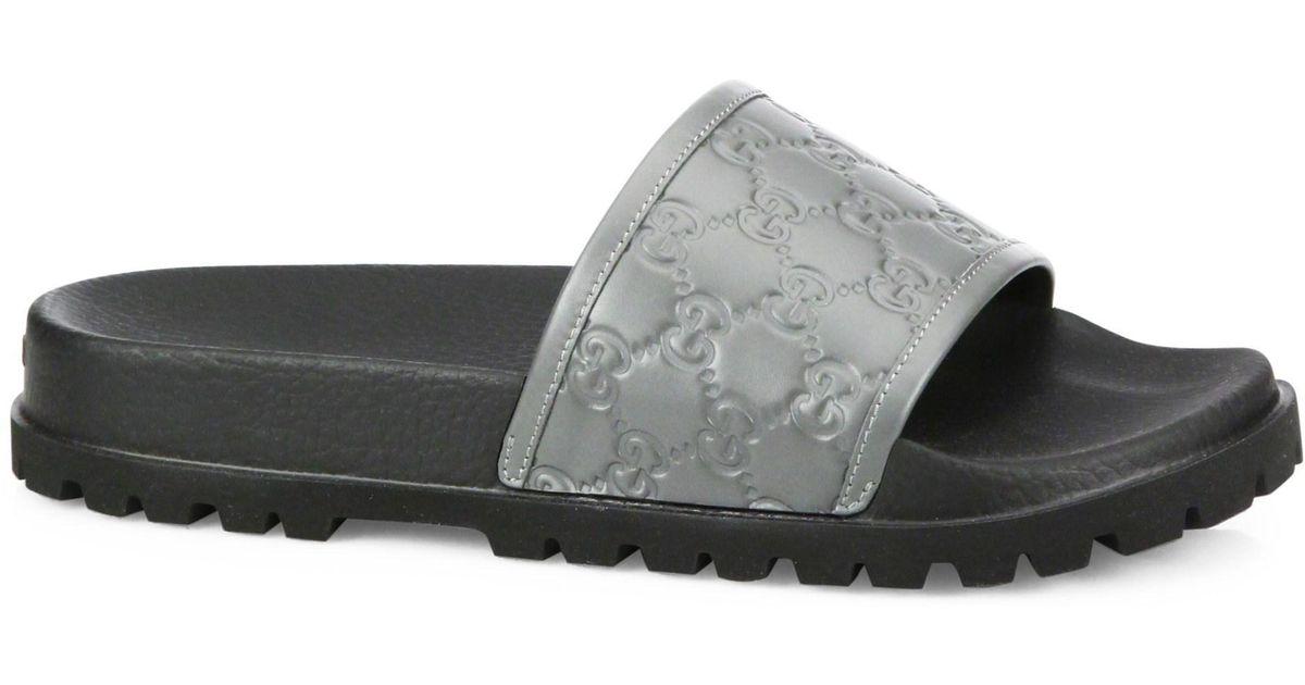 7d180bce6834 Lyst - Gucci Signature Slide Sandal in Gray for Men
