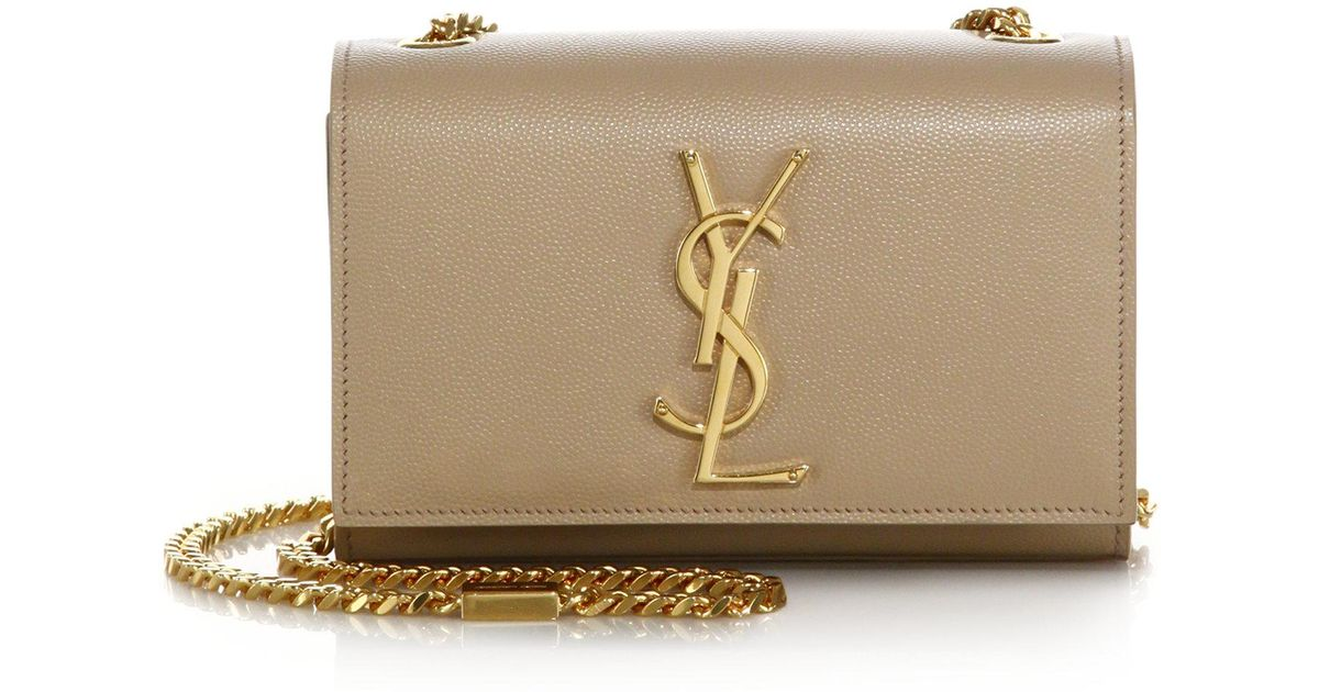 Lyst - Saint Laurent Small Kate Monogram Leather Chain Shoulder Bag in  Natural ae953df180