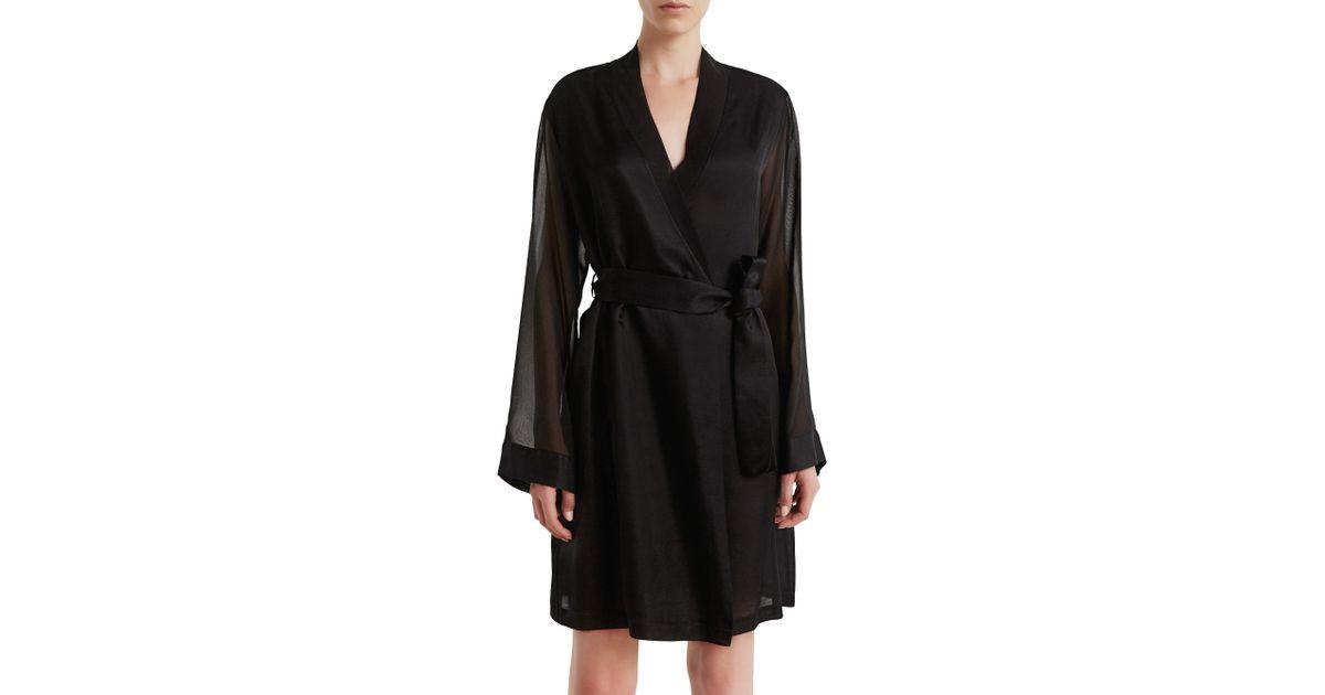 Lyst - La Perla Jazz Time Cotton   Silk Short Night Robe in Black e0f002e9b