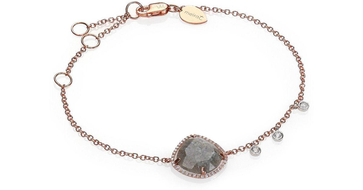 Meira t Labradorite Diamond & 14k Rose Gold Chain Bracelet in