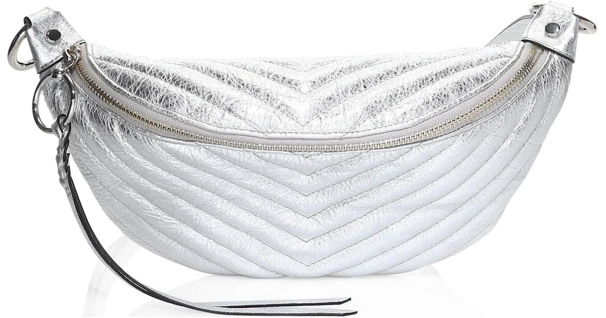8d5abdc0b Rebecca Minkoff Women s Edie Quilted Leather Metallic Sling Bag - Silver in  Metallic - Lyst