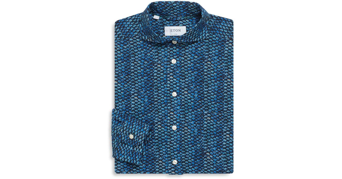 Lyst eton of sweden fish scale regular fit cotton dress for Fish scale shirt