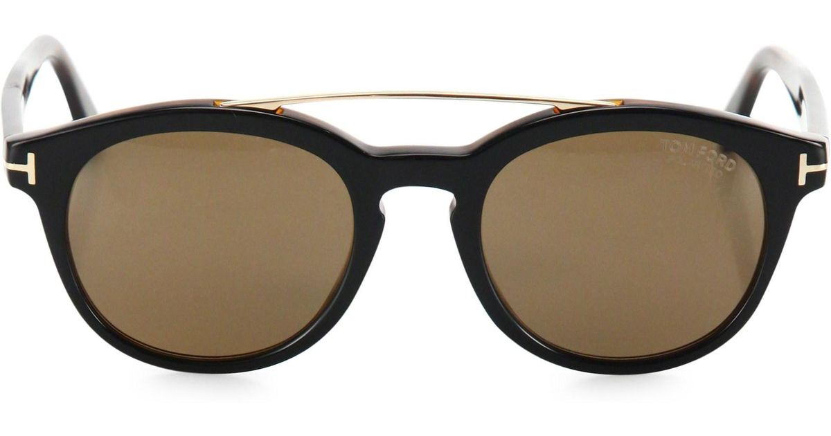 963ba21f3e Lyst - Tom Ford Newman 53mm Round Sunglasses in Black for Men