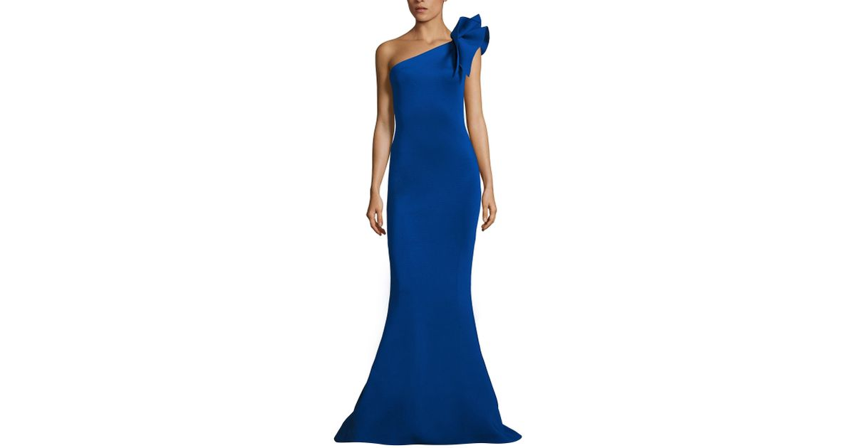 Lyst - Jovani One-shoulder Bow Mermaid Gown in Blue