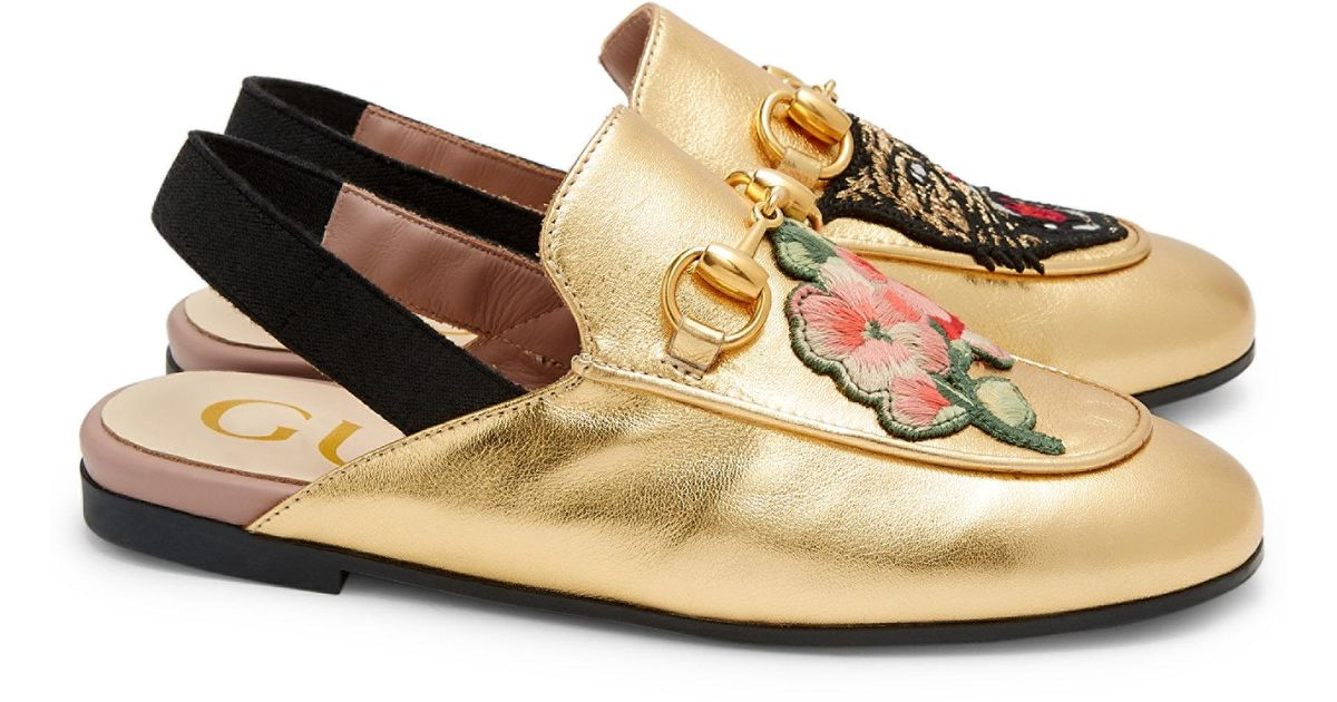 5d26bee0849 Gucci Kid s Princetown Embroidered Metallic Leather Slingback Loafers in  Metallic - Lyst