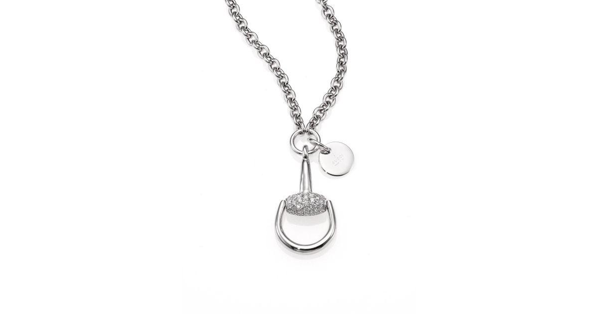 e7f895a80 Gucci Horsebit Diamond & 18k White Gold Pendant Necklace in Metallic - Lyst