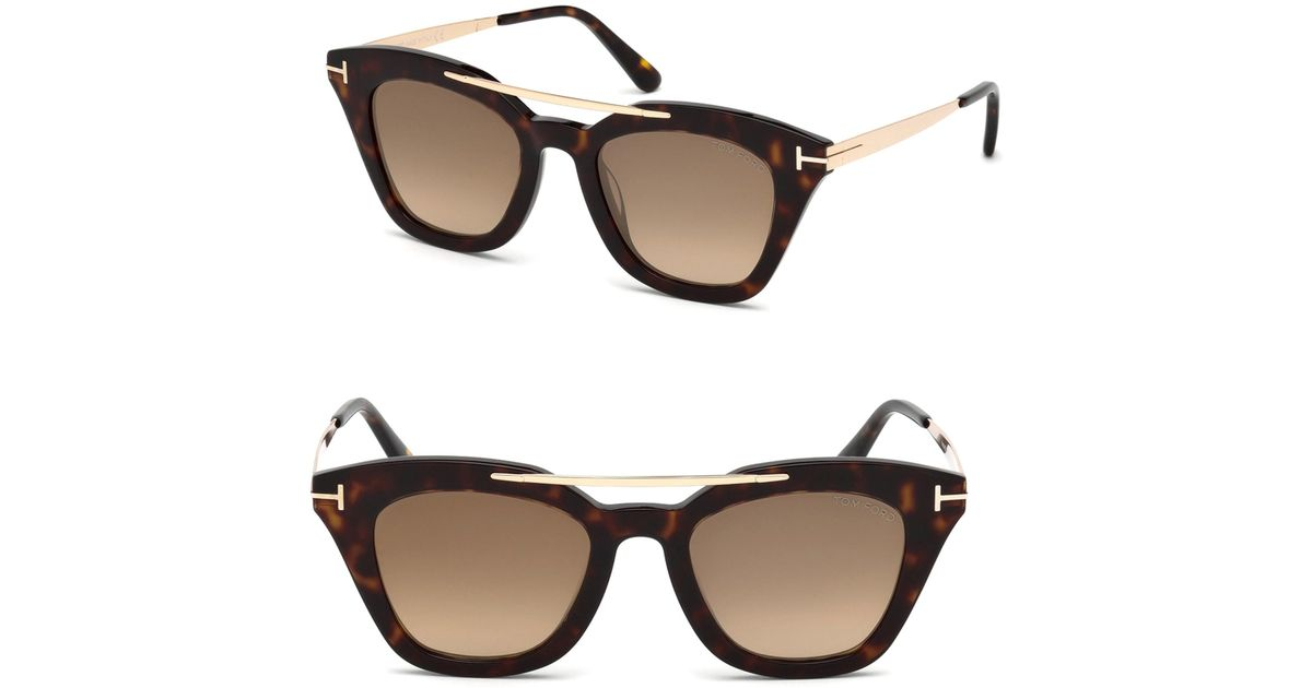 b4d44416b0649 Tom Ford Tom Ford 0575 Anna Cat Eye Sunglasses in Brown - Lyst
