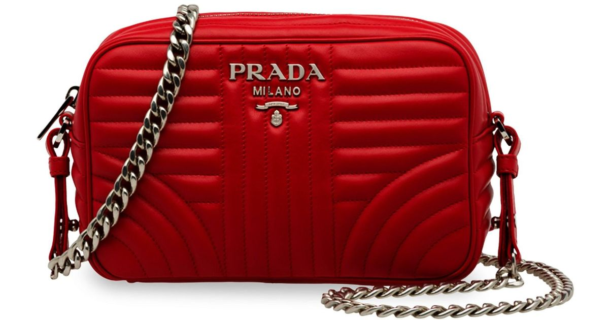 5416f931d48 Lyst - Prada Women s Diagramme Camera Bag - Cipria in Red
