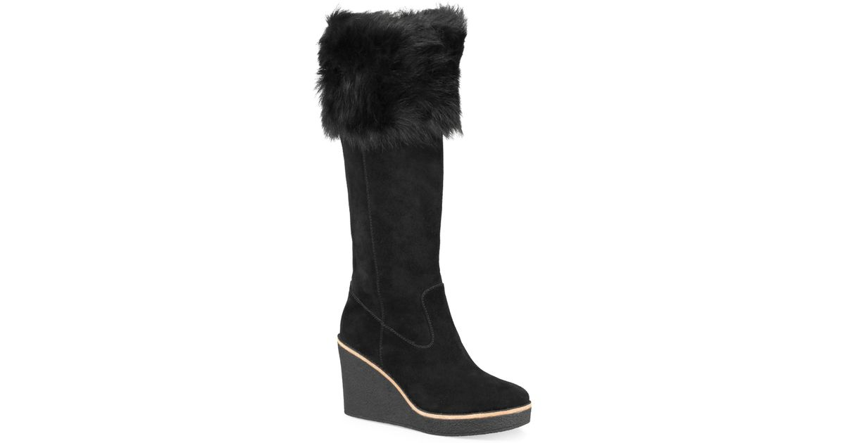 8fc27dade4e0 Lyst - UGG Valberg Fur   Suede Wedge Boots in Black