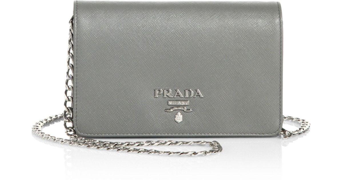 0cc9de9fcb60 ... best lyst prada saffiano leather chain shoulder bag 7d374 e62d4