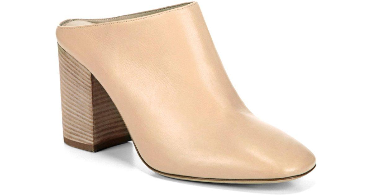 Vince Women's Faris Leather Block Heel Mules T78tM0a