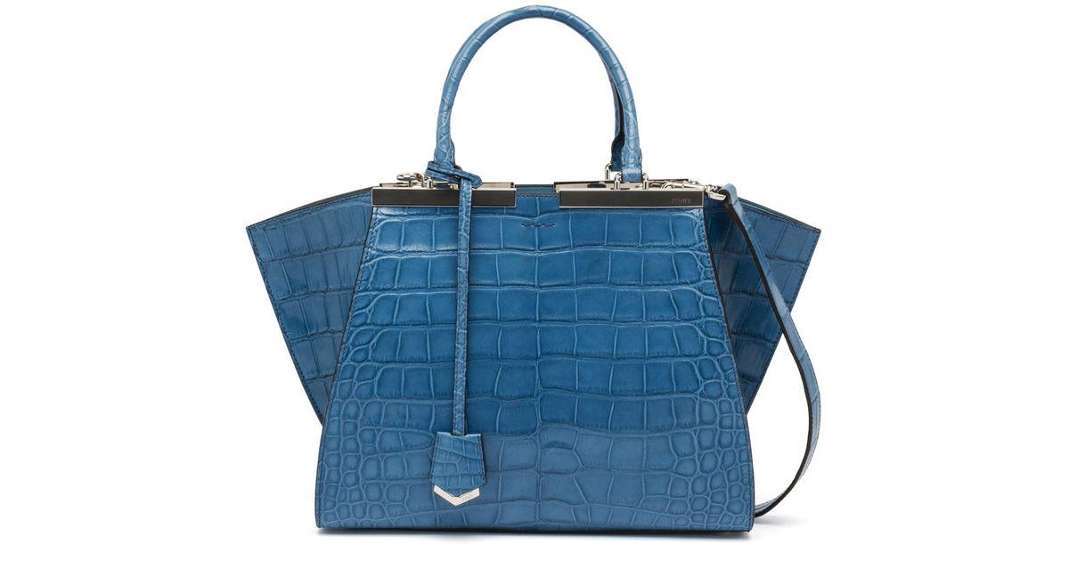 b94d6ec0c25e ... authentic lyst fendi 3jours alligator shopper tote bag in blue 6a1c1  9d1f9