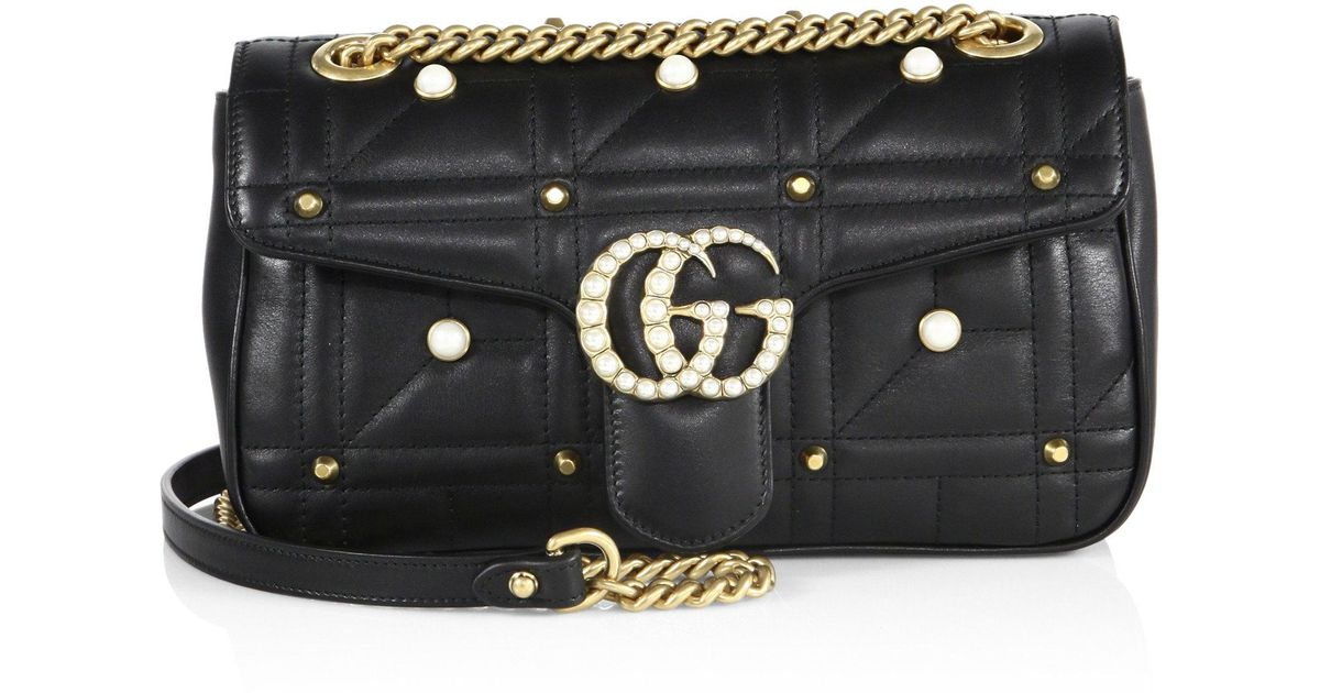 eceb671c2150 Lyst - Gucci Small Gg Marmont Studded Matelassé Leather Chain Shoulder Bag  in Black
