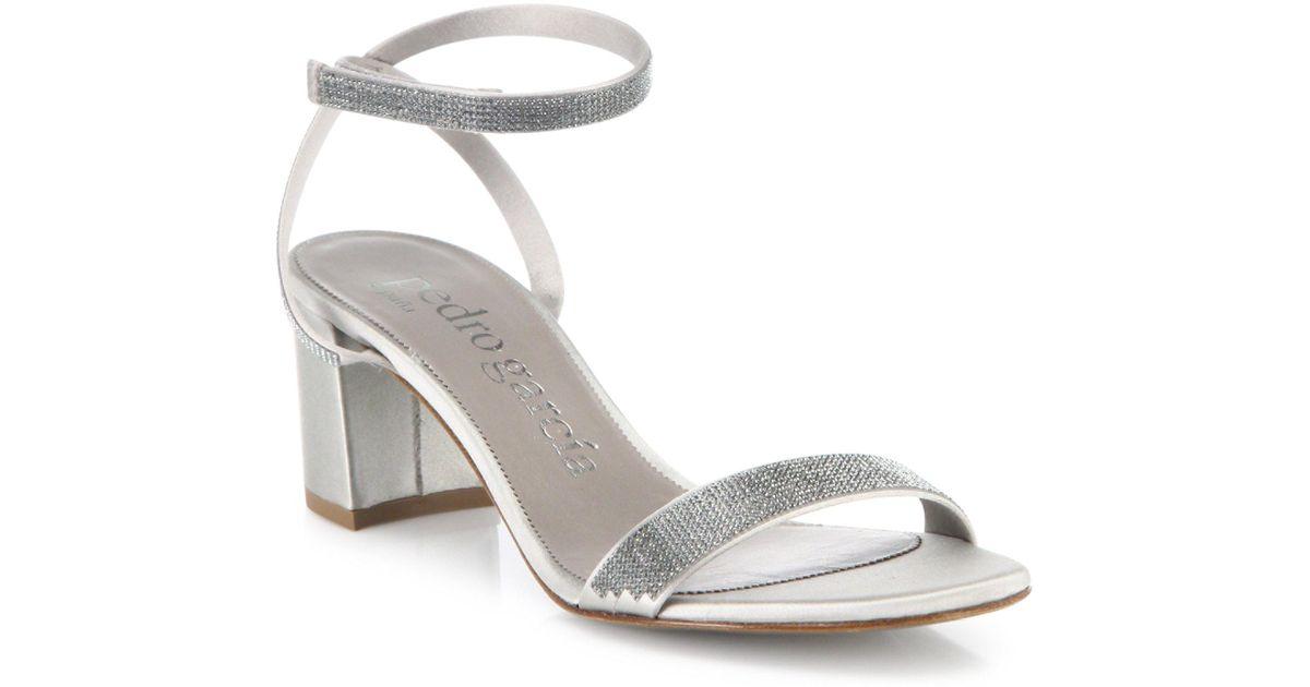 Lyst - Pedro Garcia Xela Swarovski Crystal Silk Satin Block Heel Sandals -  Save 60%