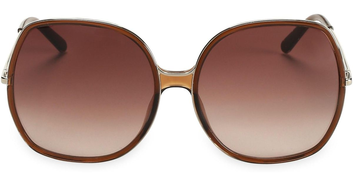 0a55ea3ee56d Lyst - Chloé Women s Turtledove 62mm Oversized Round Sunglasses - Brown in  Brown