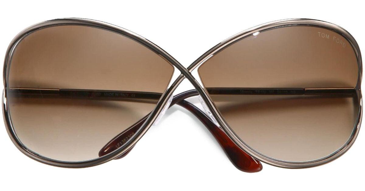 128101588f74 Lyst - Tom Ford Miranda Oversized Round Sunglasses in Metallic
