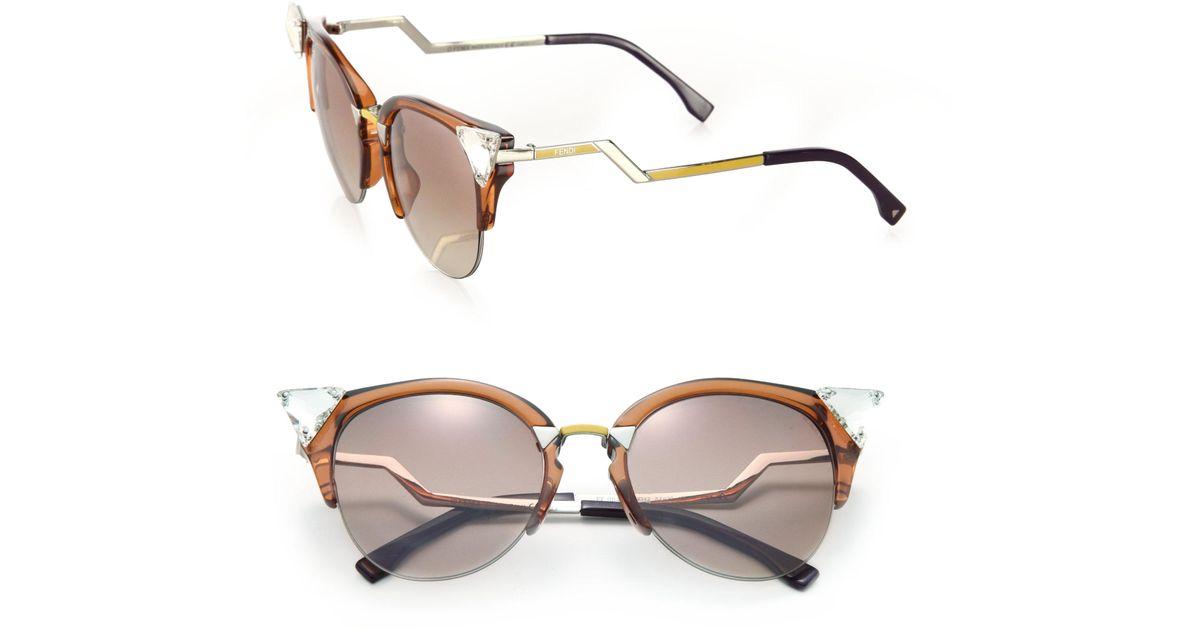 d14f46ab0 Fendi Edged Zig-zag Optyl Cat's-eye Sunglasses in Brown - Lyst