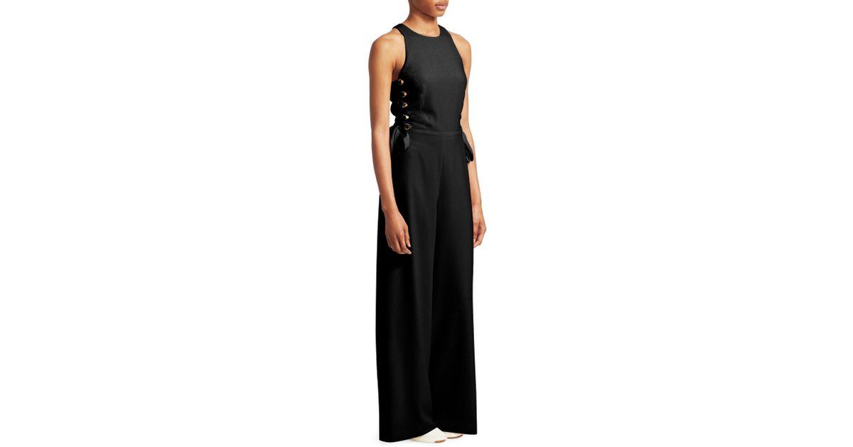 35f73ec21c2 Zimmermann Women s Lace-up Wide Leg Jumpsuit - Pearl - Size 3 (8-10) in  Black - Lyst