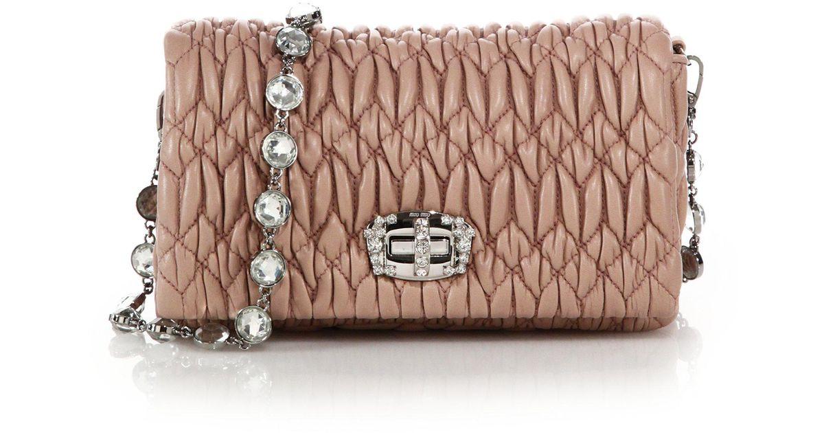 42313fc3a065 Miu Miu - Natural Nappa Crystal Embellished Leather Shoulder Bag - Lyst