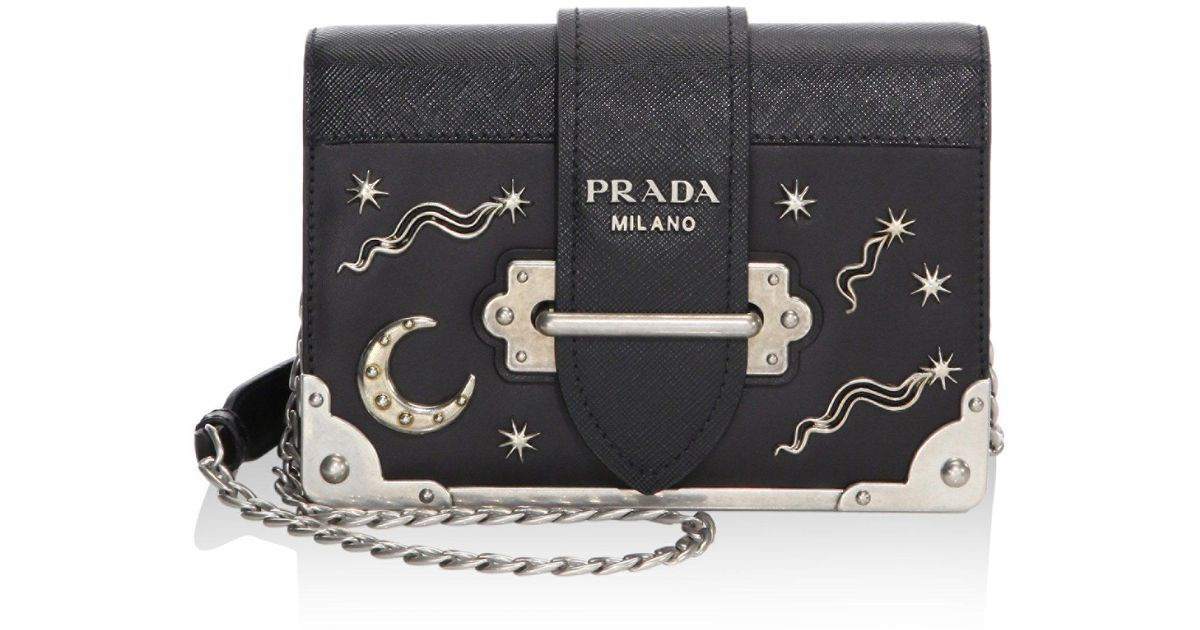 6d4090432cfd Prada Women's Cahier Studded Saffiano & Leather Shoulder Bag - Baltico in  Black - Lyst