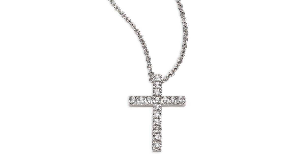 De Beers Classic Diamond   18k White Gold Cross Pendant Necklace in  Metallic - Lyst 2ebaf103a