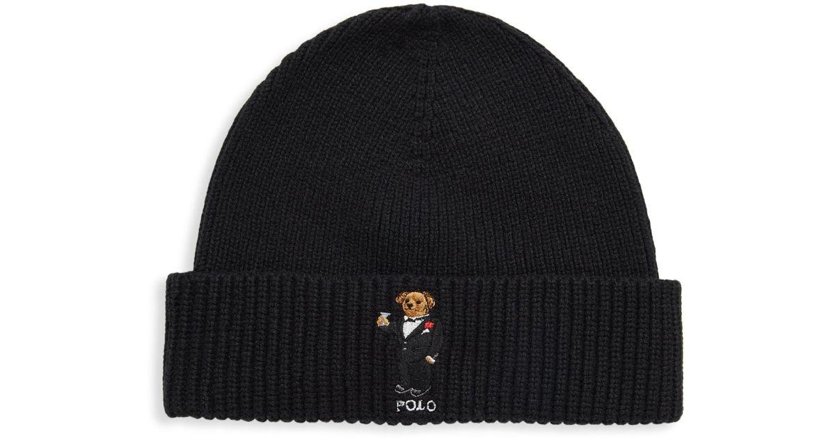 Lyst - Polo Ralph Lauren Tuxedo Bear Beanie in Black for Men a9067fb55ac