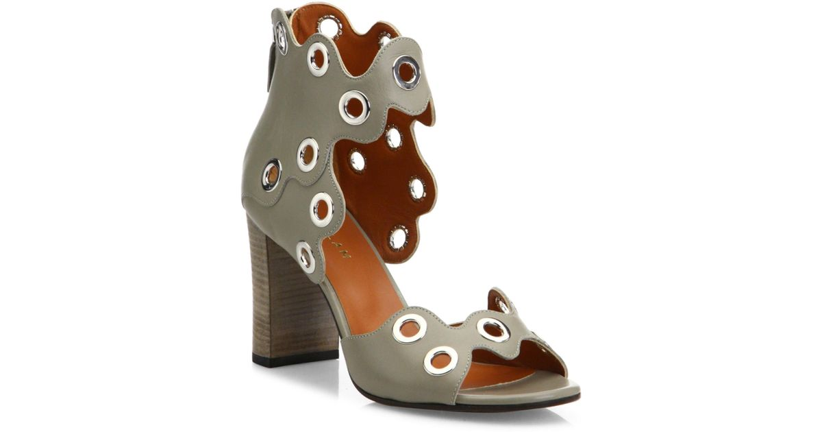 15719d0a66d4 Derek Lam Umi Eyelet Leather Block Heel Sandals - Lyst