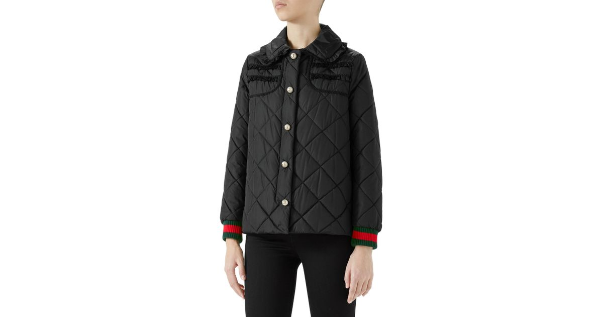 d5d983eac1 Gucci Women's Long Sleeve Quilted Nylon Jacket - Black