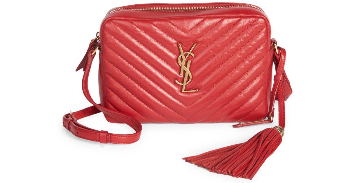 ... Saint Laurent Small Leather Matelasse Monogram Lou Camera Bag in Red -  Lyst new product 339b9 ... e9625770b55e7
