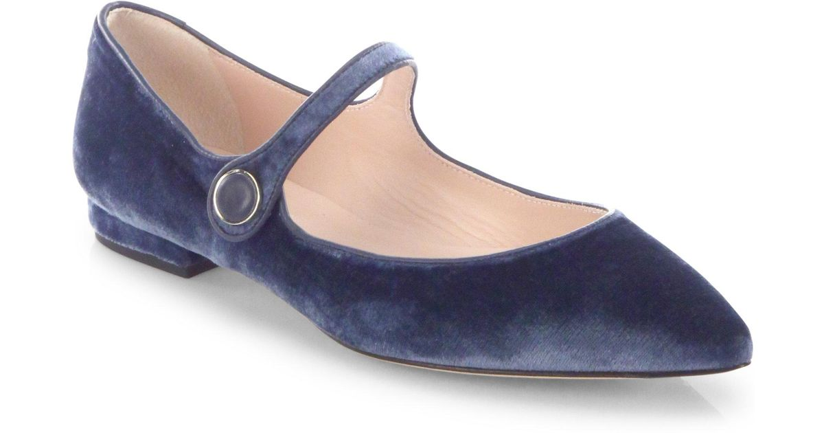 bdfc4028c L.K.Bennett Velvet Mary Jane Point Toe Flats in Blue - Lyst