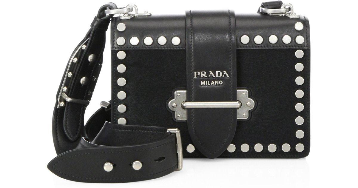 0e19d2aca03a Prada Bandoliera Studded Calf Hair & Leather Shoulder Bag in Black - Lyst