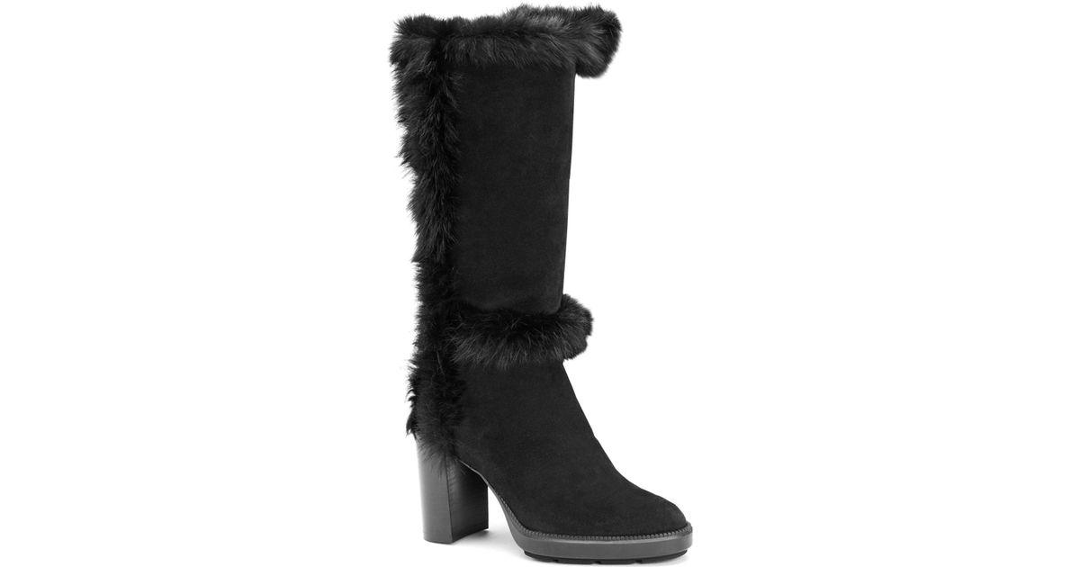 ecf6b55dff2 Lyst - Aquatalia Imelda Shearling   Suede Mid-calf Boots in Black