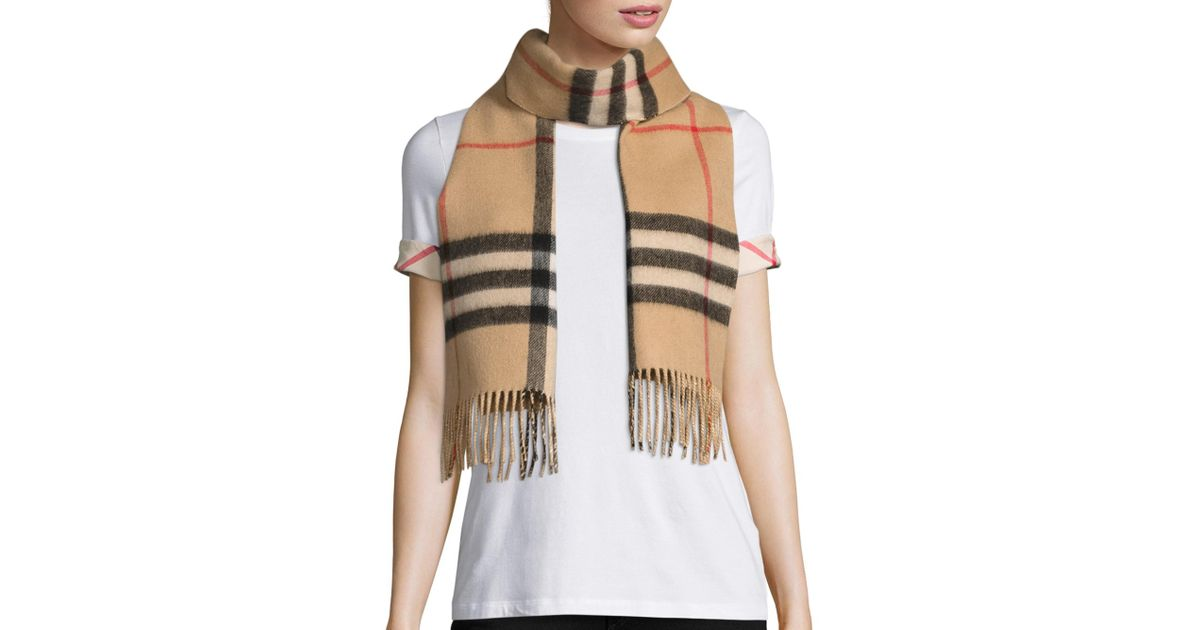06b90e17242 Lyst - Burberry Reversible Metallic Check Cashmere Scarf in Natural