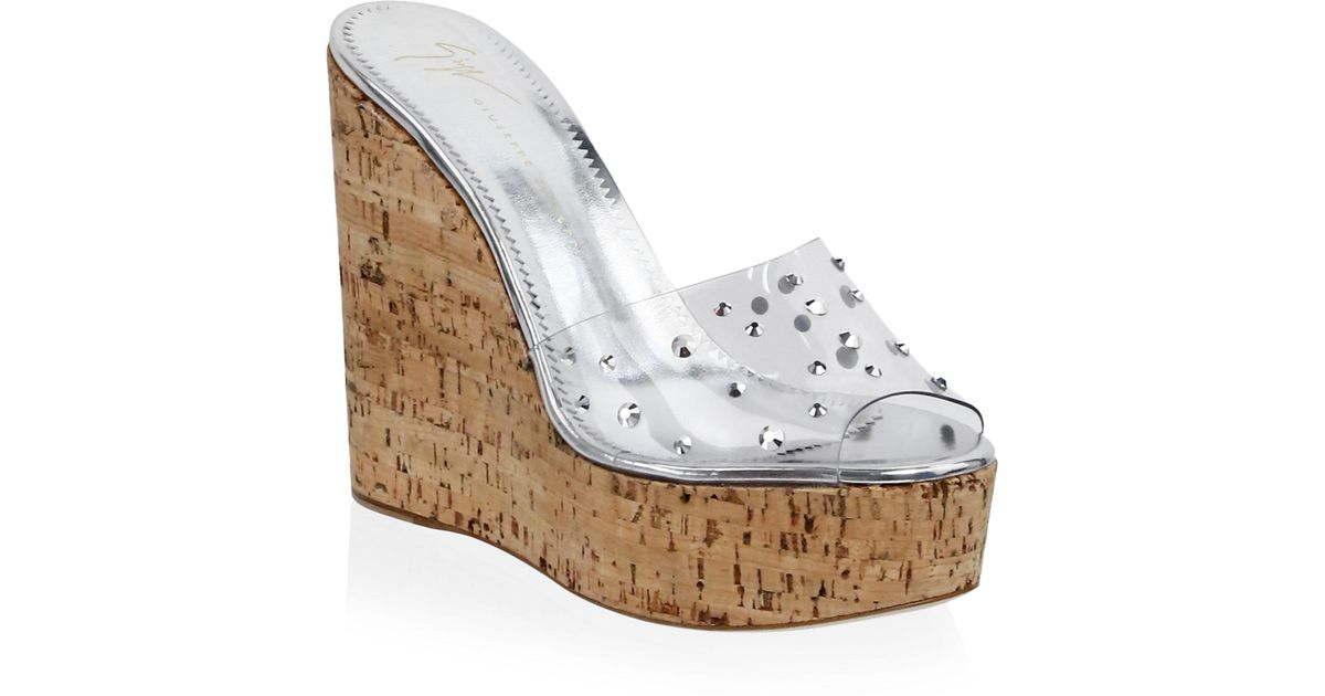 1f06d9d89 Lyst - Giuseppe Zanotti Transparent Swarovski Crystal Platform Wedges in  Metallic