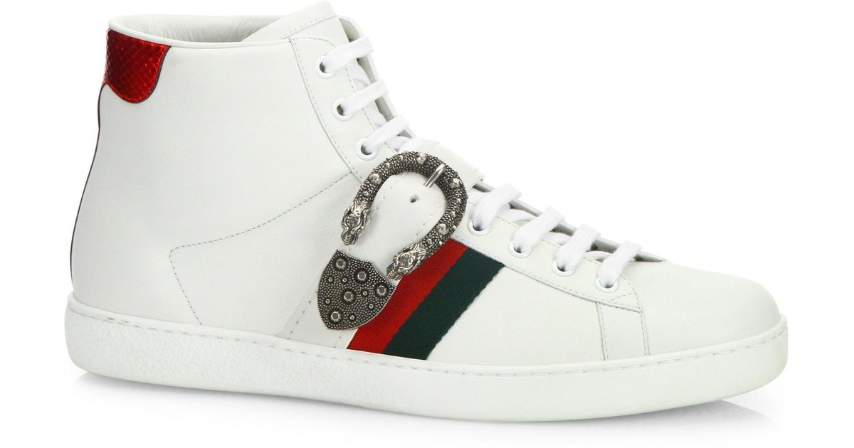 a26c6279298 ... best Lyst - Gucci New Ace Belt Leather High-top Sneakers in White ...