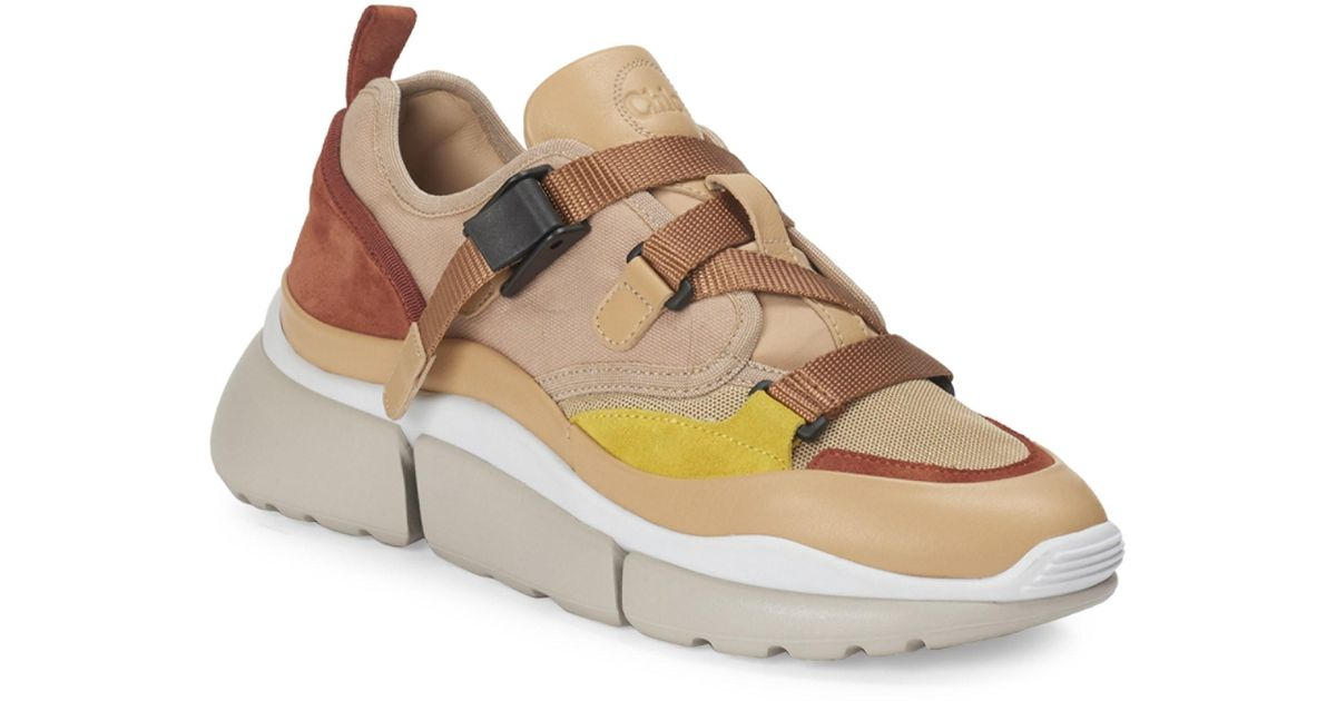 Chloé Sonnie Strappy Textile Chunky Sneakers