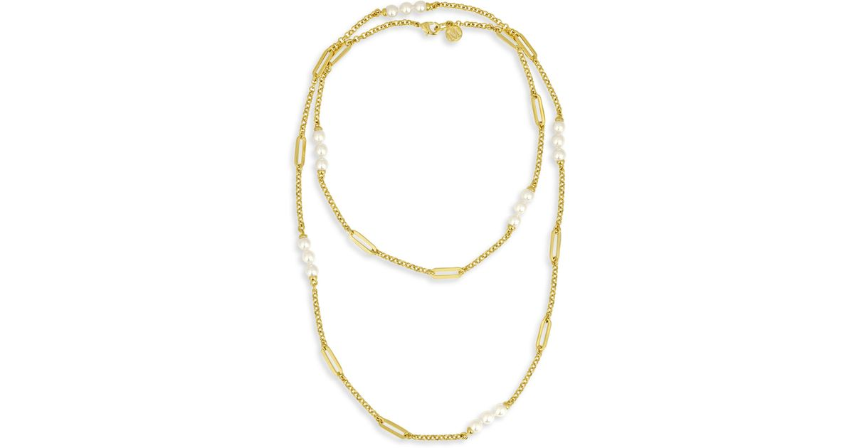 Majorica Modern Metal Pearly Chain Necklace, 36