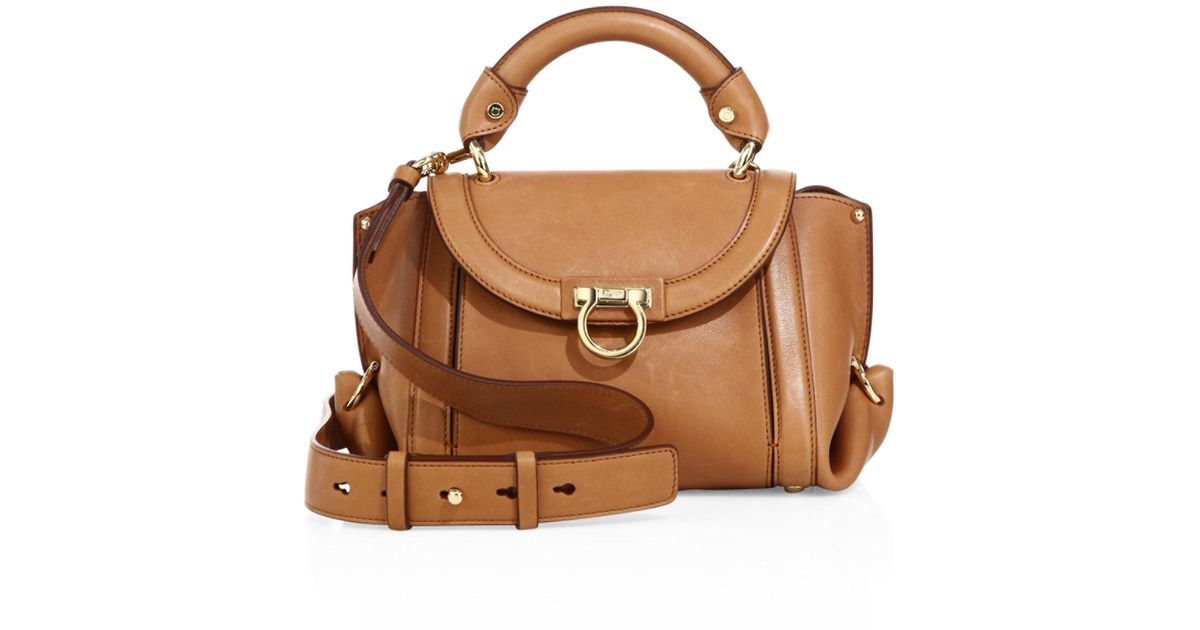 247b58d1ca5c Lyst - Ferragamo Soft Sofia Small Leather Top Handle Bag in Brown