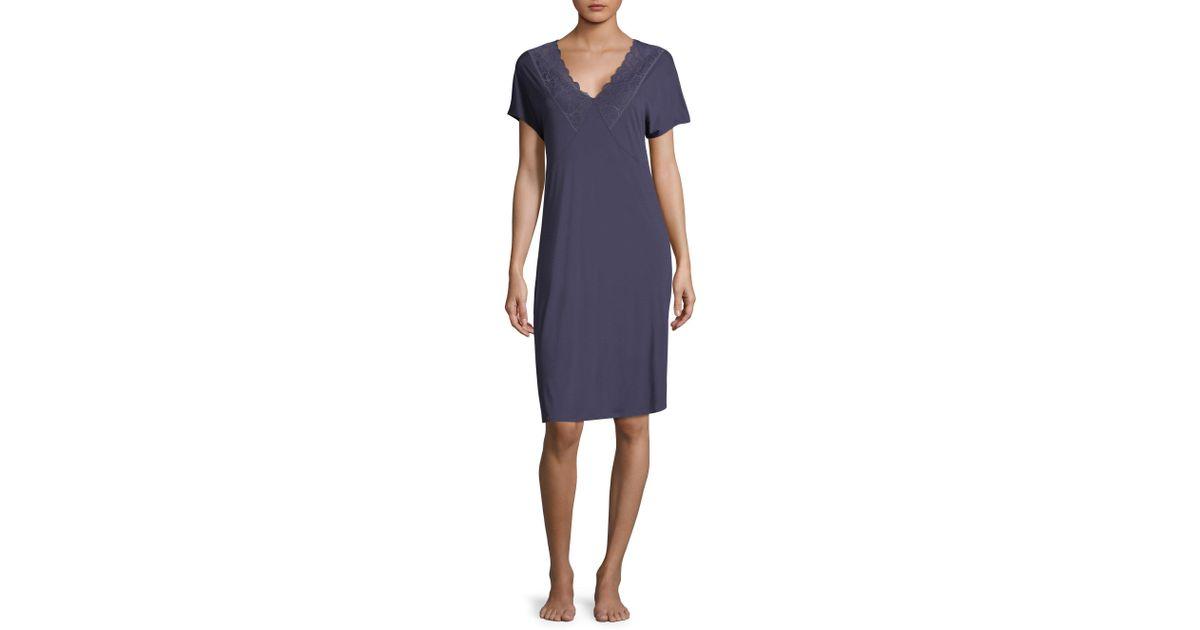 64639ee446 Lyst - Hanro Rose Short Sleeve Nightgown in Purple