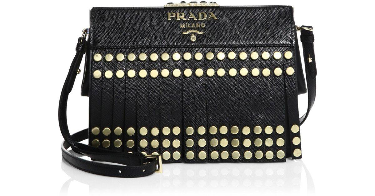 06e2679f166c Prada Studded Fringe Saffiano Leather Crossbody Bag in Black - Lyst