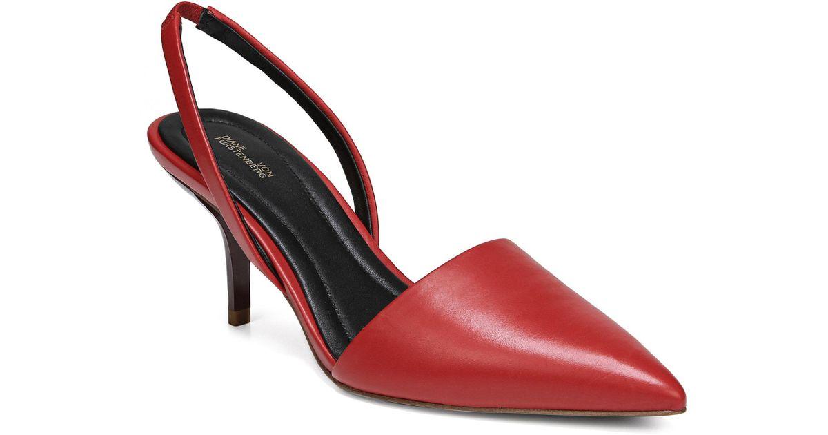 Diane von Furstenberg Mortelle Red & Black Snake Slingbacks sycHhE