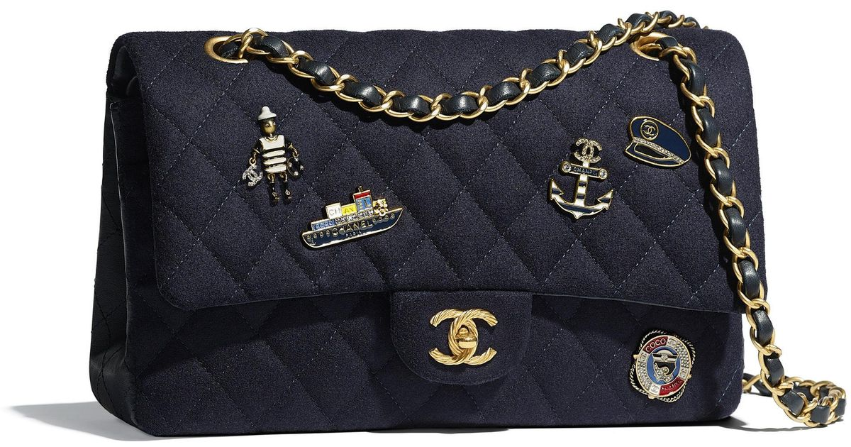 85e52683192e Chanel Flap Bag in Blue - Lyst
