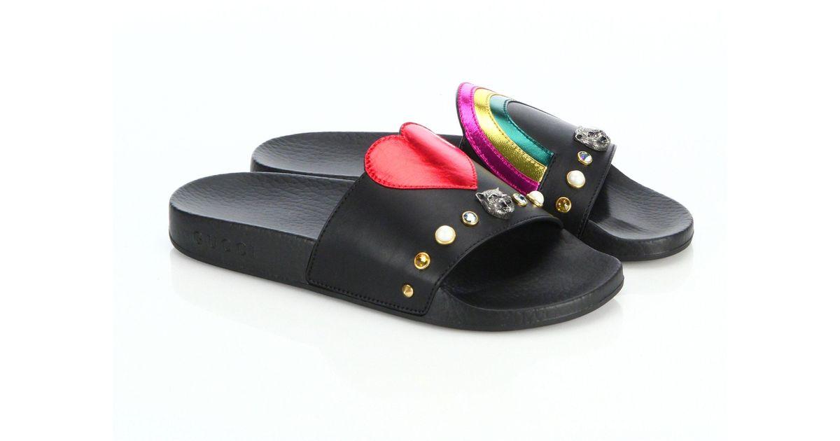 Sandales Noires Slide Patchés qQ6OGbsGmR