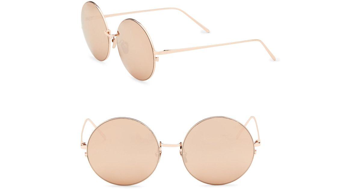 gold and brown 343 C6 round Sunglasses - Metallic Linda Farrow ulPSDq