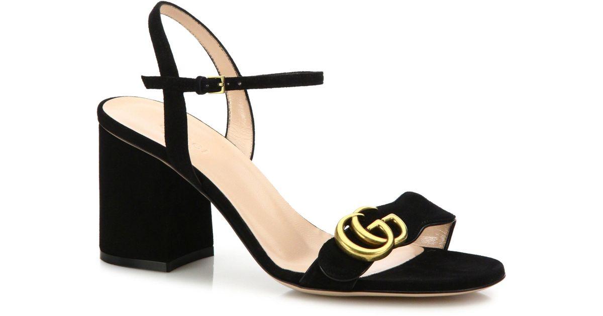 a90eee05e1e Lyst - Gucci Gg Marmont Sandal in Black