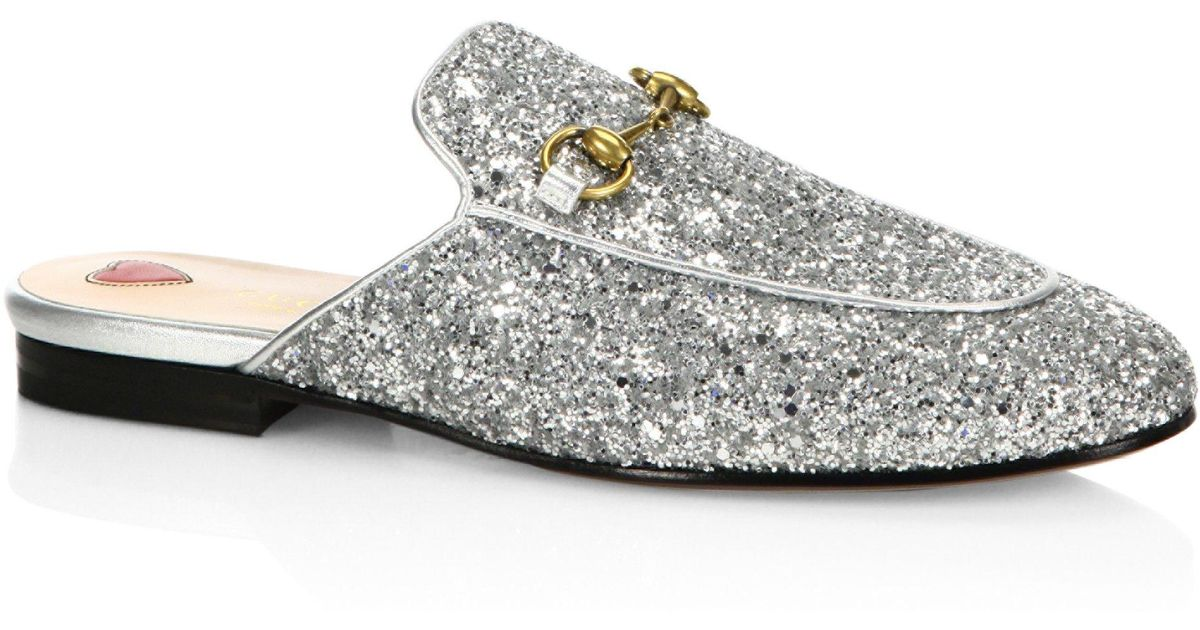5f7b90576 Gucci 10mm Princetown Glitter Mule in Metallic - Lyst